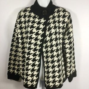 Allison Daley Houndstooth One Button Cardigan